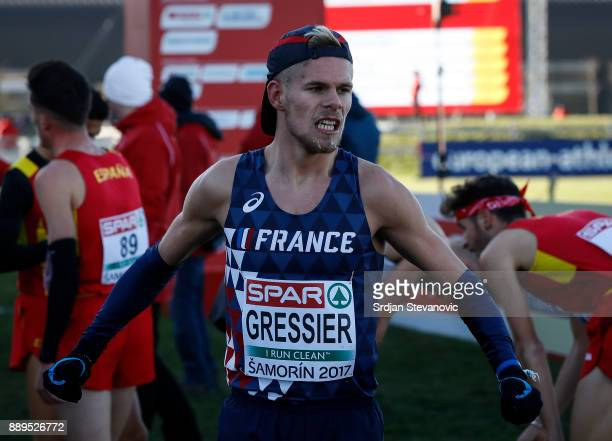 Jimmy Gressier of France celebrates winning the Gold Medal after the U23 Men's race of SPAR European Cross Country Championships on December 10 2017...