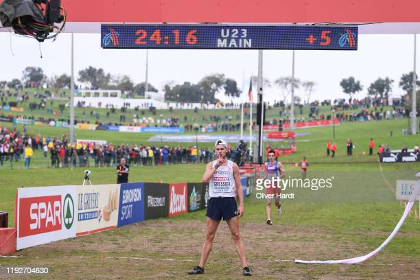 Jimmy Gressier of France reacts after the U23 Men's final race of the SPAR European Cross Country Championships at the Parque da Bela Vista on...