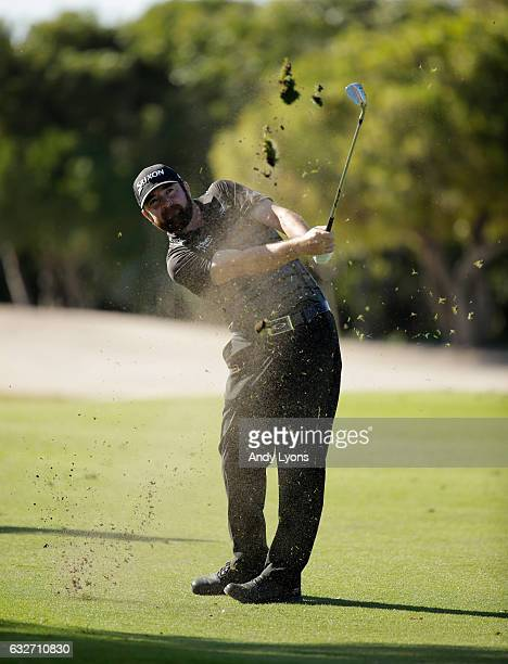 Jimmy Gunn hits his second shot on the 12th hole during the final round of The Bahamas Great Abaco Classic at the Abaco Club on January 25 2017 in...