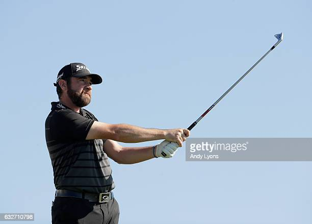 Jimmy Gunn hits his tee shot on the 10th hole during the final round of The Bahamas Great Abaco Classic at the Abaco Club on January 25 2017 in Great...