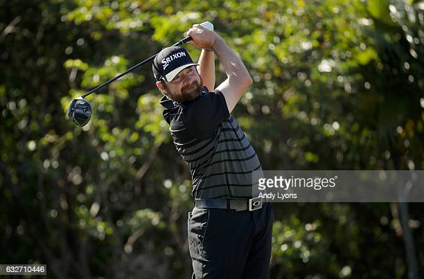 Jimmy Gunn hits his tee shot on the 11th hole during the final round of The Bahamas Great Abaco Classic at the Abaco Club on January 25 2017 in Great...
