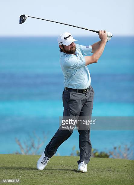 Jimmy Gunn hits his tee shot on the 18th hole during the second round of The Bahamas Great Abaco Classic at the Abaco Club on January 24 2017 in...