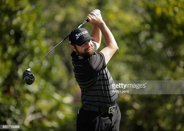 Jimmy Gunn hits his tee shot on the third hole during the final round of The Bahamas Great Abaco Classic at the Abaco Club on January 25 2017 in...