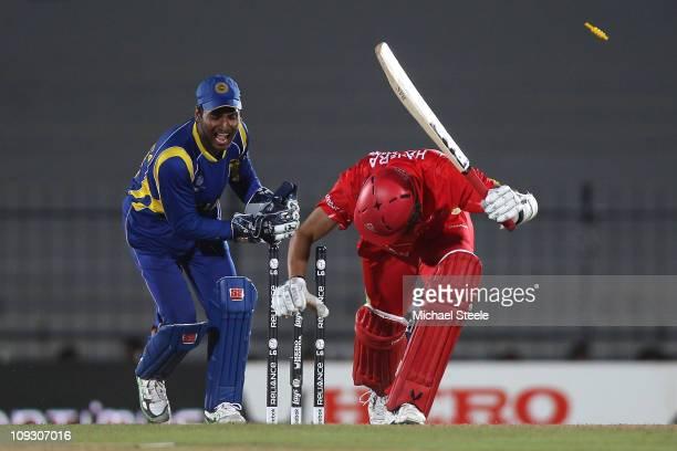 Jimmy Hansra of Canada is stumped by Kumar Sangakkara off the bowling of Thilan Samaraweera during the Sri Lanka v Canada 2011 ICC World Cup Group A...