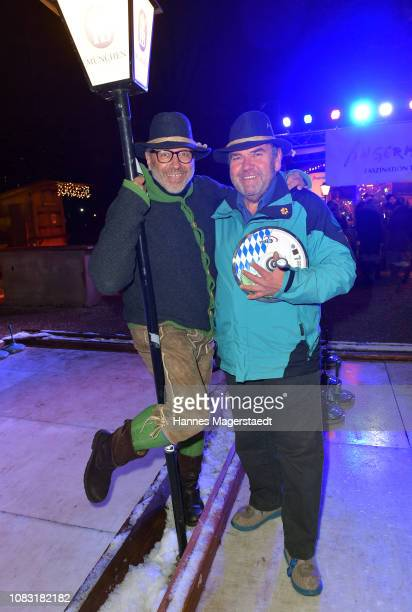 Jimmy Hartwig and Peter Rappenglueck attend the Angermaier 'Eisstock WM' at Park Cafe on January 15 2019 in Munich Germany