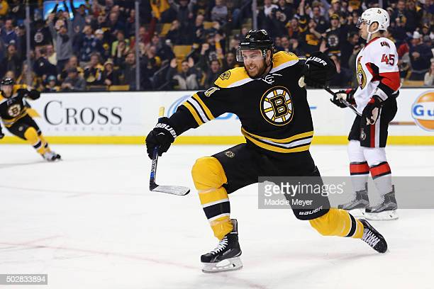 Jimmy Hayes of the Boston Bruins celebrates after scoring a goal against the Ottawa Senators during the first period at TD Garden on December 29,...