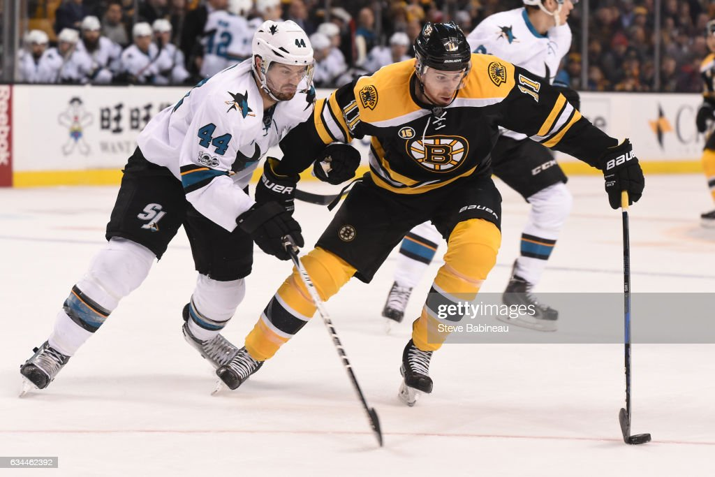 Jimmy Hayes #11 of the Boston Bruins watches the puck against Marc-Edouard Vlasic #44 of the San Jose Sharks at the TD Garden on February 9, 2017 in Boston, Massachusetts.