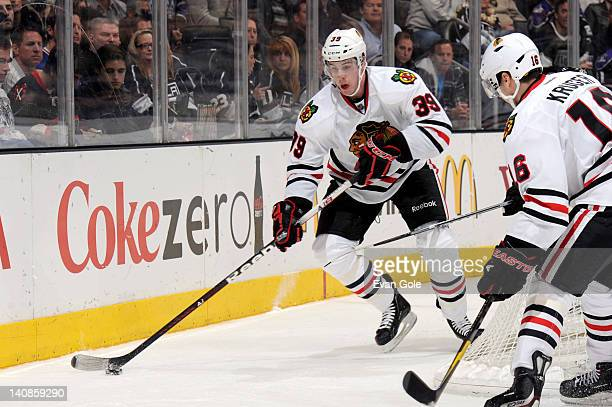 Jimmy Hayes of the Chicago Blackhawks handles the puck during a game against the Los Angeles Kings at Staples Center on February 25 2012 in Los...