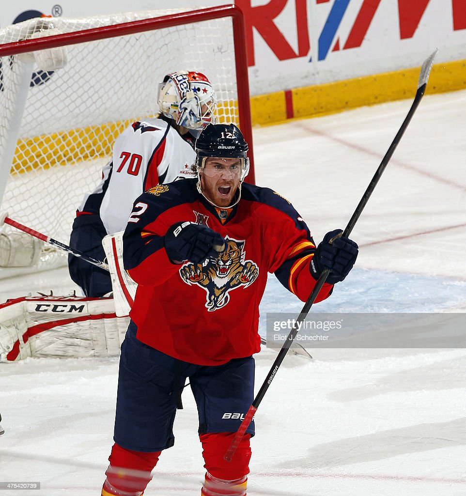 Jimmy Hayes #12 of the Florida Panthers celebrates his goal against the Washington Capitals at the BB&T Center on February 27, 2014 in Sunrise, Florida.