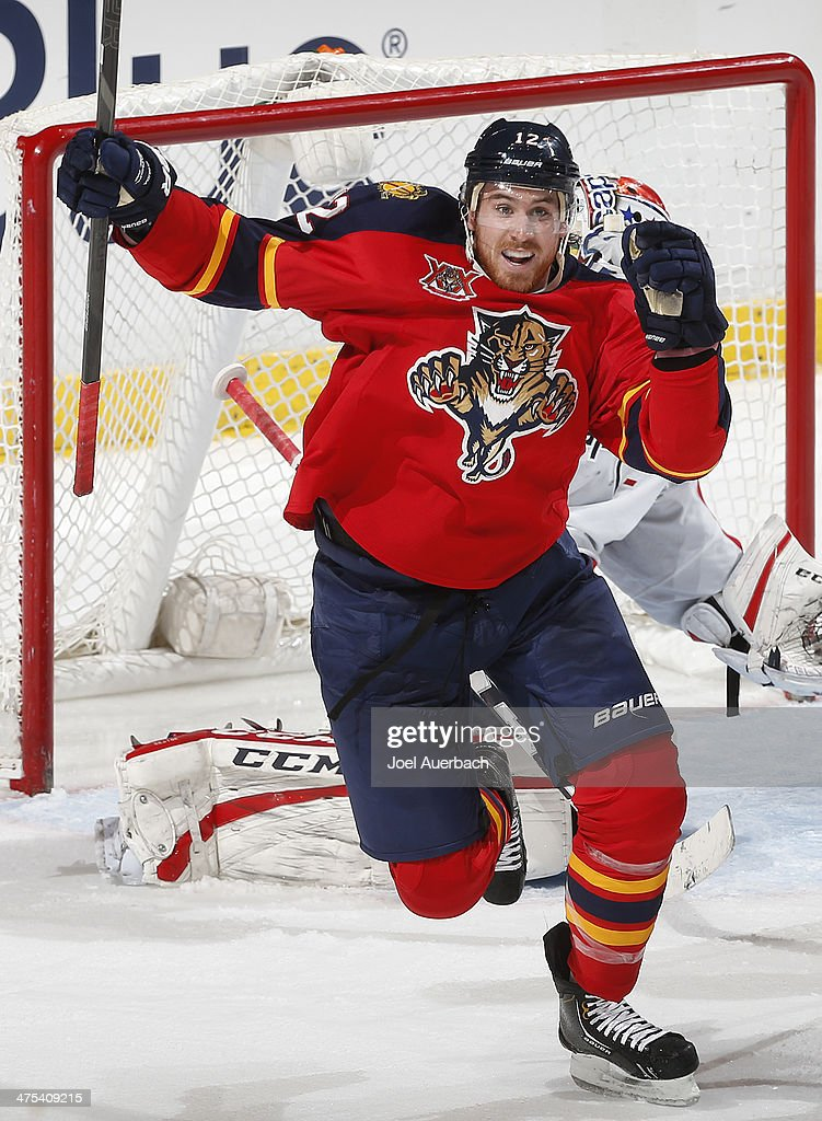Jimmy Hayes #12 of the Florida Panthers celebrates his their period goal against the Washington Capital at the BB&T Center on February 27, 2014 in Sunrise, Florida. The Capitals defeated the Panthers 5-4.