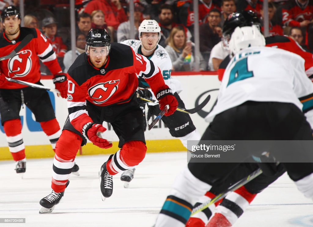 low cost 0e226 25edb Jimmy Hayes of the New Jersey Devils skates against the San ...