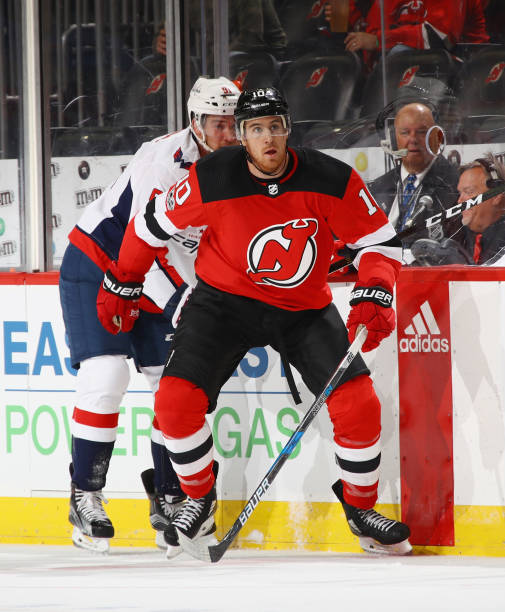 Jimmy Hayes  10 of the New Jersey Devils skates against the Washington  Capitals during a 57b8f50e8