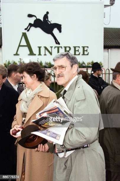 Jimmy Hill pictured amongst spectators being evacuated from the racecourse after an IRA bomb threat at the 1997 Grand National Aintree near Liverpool...