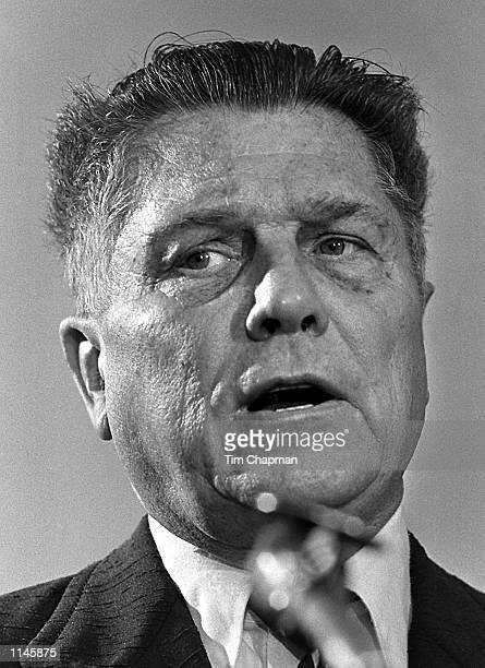 Jimmy Hoffa speaks out against the US Government in a speech about collective bargaining at Florida International University in Miami May 211974