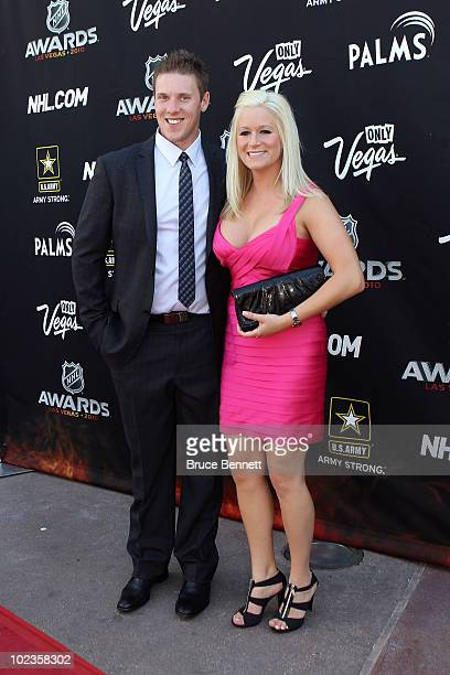 Jimmy Howard of the Detroit Red Wings and his wife Rachel pose for a photo during the red carpet arrivals for the 2010 NHL Awards at the Palms Casino...