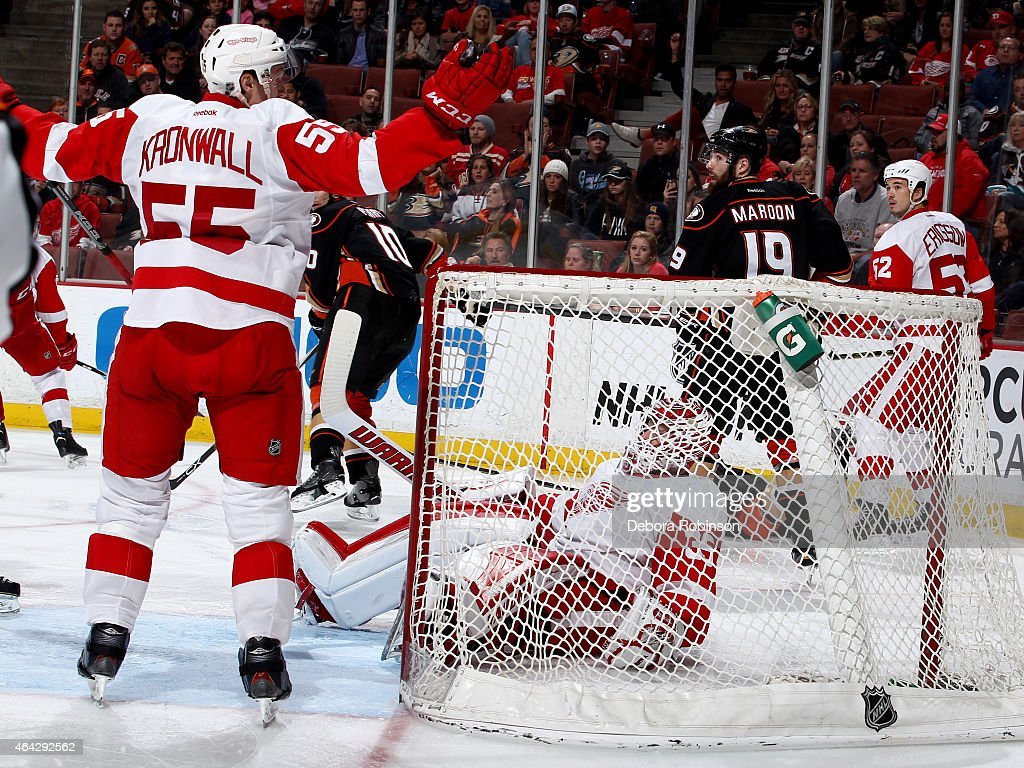 Jimmy Howard #35 of the Detroit Red Wings falls into the net during the game against the Anaheim Ducks on February 23, 2015 at Honda Center in Anaheim, California.
