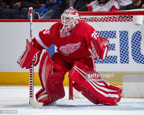 Jimmy Howard of the Detroit Red Wings follows the play against the Los Angeles Kings during an NHL game at Little Caesars Arena on December 10 2018...