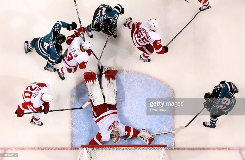 Jimmy Howard #35 of the Detroit Red Wings lies down on the ice to make a save during their game against the San Joses Sharks in Game Two of the Western Conference Semifinals during the 2010 NHL Stanley Cup Playoffs at HP Pavilion on May 2, 2010 in San Jose, California.