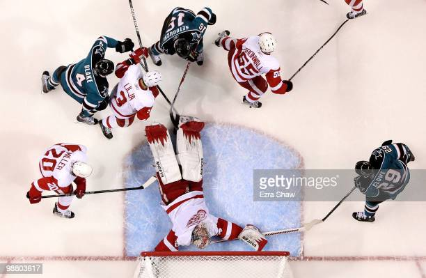 Jimmy Howard of the Detroit Red Wings lies down on the ice to make a save during their game against the San Joses Sharks in Game Two of the Western...
