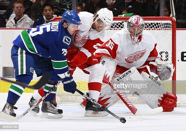 Jimmy Howard of the Detroit Red Wings looks on as teammate Brad Stuart battles with Sergei Shirokov of the Vancouver Canucks during their game at...