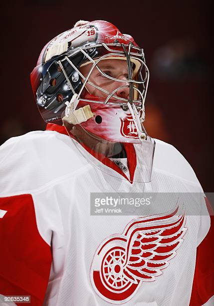Jimmy Howard of the Detroit Red Wings looks on from his crease during their game against the Vancouver Canucks at General Motors Place on October 27...