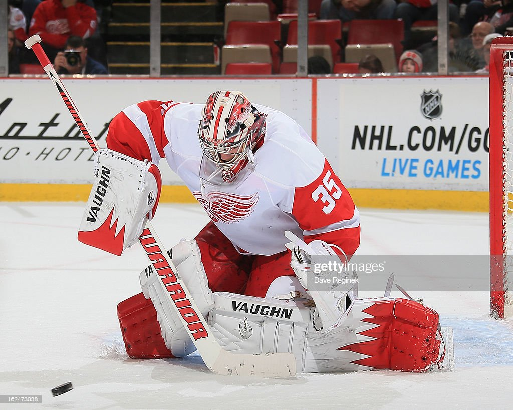 Jimmy Howard #35 of the Detroit Red Wings makes a save during a NHL game against the Nashville Predators at Joe Louis Arena on February 23, 2013 in Detroit, Michigan. The Wings won 4-0