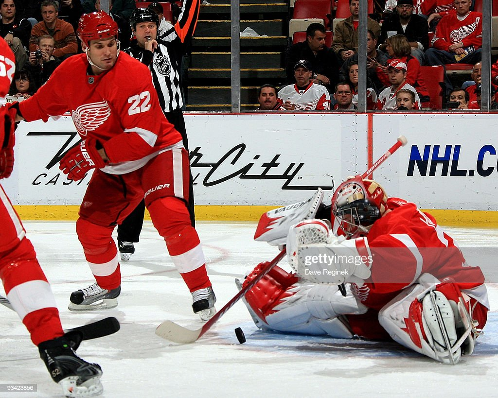 Jimmy Howard #35 of the Detroit Red Wings makes a save on the Atlanta Thrashers as teammate Brett Lebda #22 keeps an eye on the puck during a NHL game at Joe Louis Arena on November 25, 2009 in Detroit, Michigan.