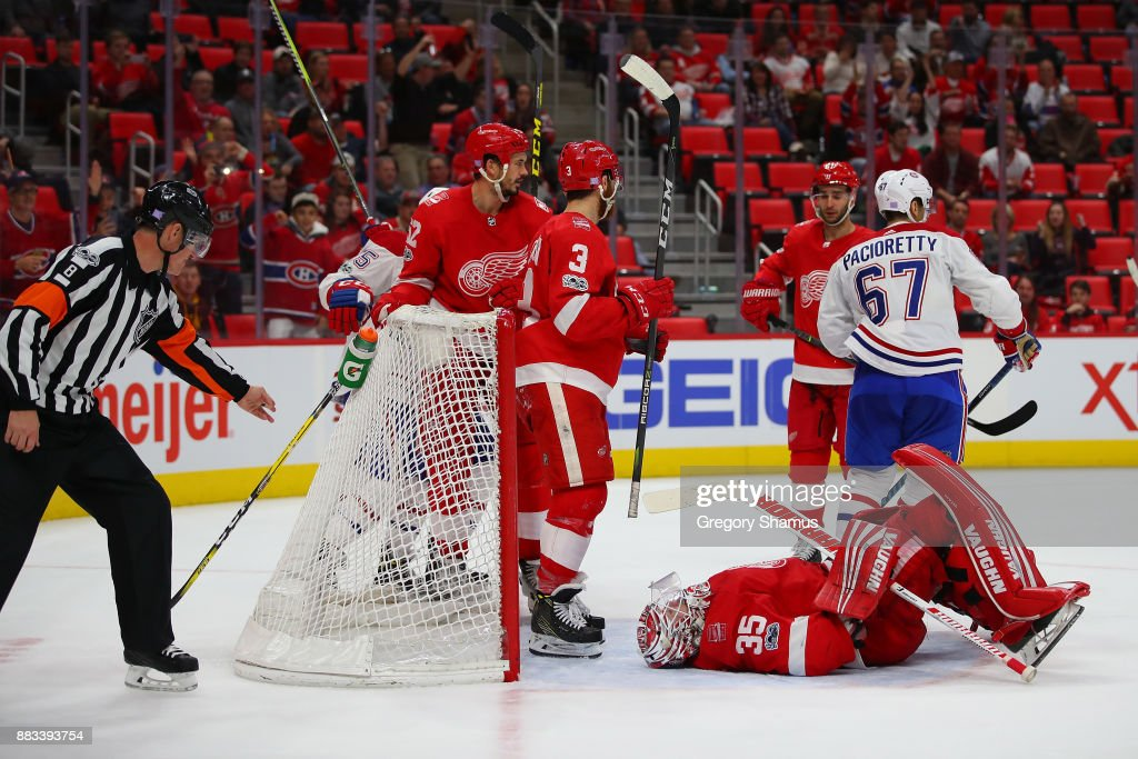 Jimmy Howard #35 of the Detroit Red Wings reacts after a third period goal by Max Pacioretty #67 of the Montreal Canadiens at Little Caesars Arena on November 30, 2017 in Detroit, Michigan. Montreal won the game 6-3.