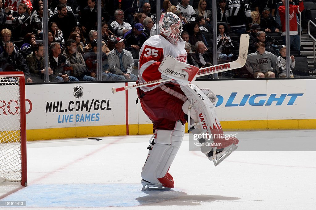 Jimmy Howard #35 of the Detroit Red Wings reacts after defeating the Los Angeles Kings at Staples Center on January 11, 2014 in Los Angeles, California.