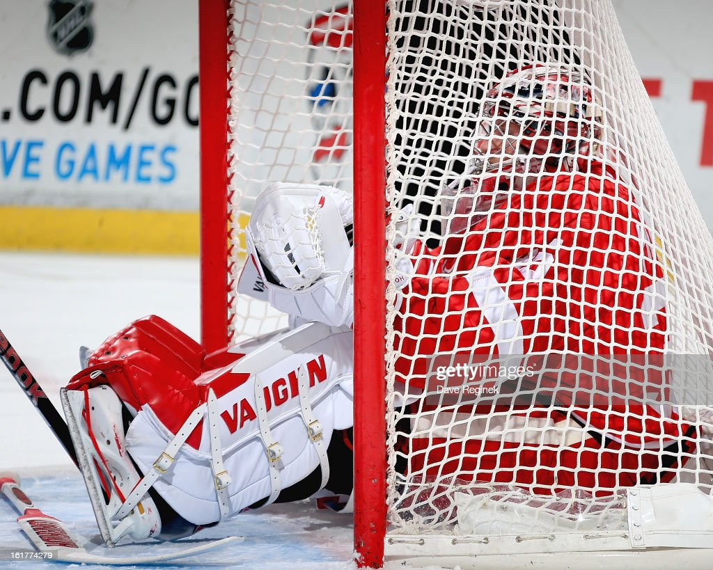 Jimmy Howard #35 of the Detroit Red Wings sits in the net during a NHL game against the Anaheim Ducks and on February 15, 2013 at Joe Louis Arena in Detroit, Michigan.