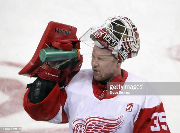 Jimmy Howard of the Detroit Red Wings skates in warmups prior to the game against the New York Rangers at Madison Square Garden on March 19 2019 in...