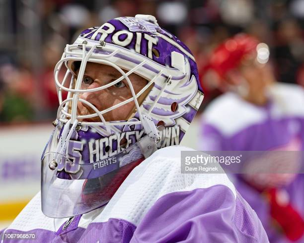 Jimmy Howard of the Detroit Red Wings skates in warm-ups with his custom Hockey Fights Cancer jersey prior to an NHL game against the Arizona Coyotes...