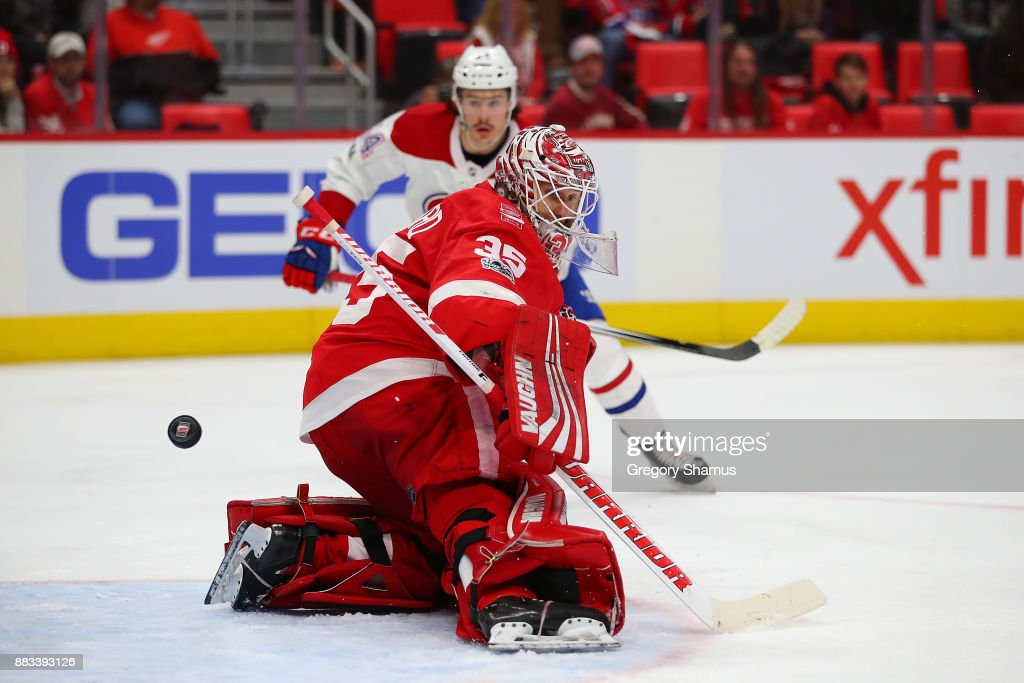 Jimmy Howard #35 of the Detroit Red Wings watches a third period goal go past hime while playing the Montreal Canadiens at Little Caesars Arena on November 30, 2017 in Detroit, Michigan. Montreal won the game 6-3.