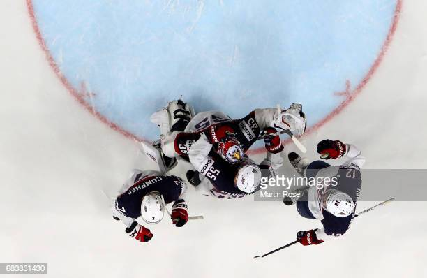 Jimmy Howard of the USA celebrates victory with his tem mates after the 2017 IIHF Ice Hockey World Championship game between Russia and USA at...
