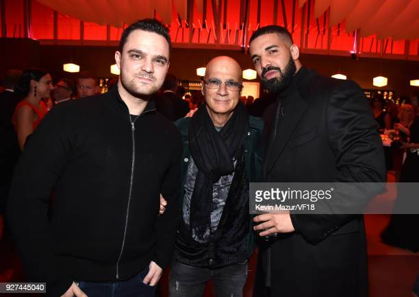 Jimmy Iovine and Drake attend the 2018 Vanity Fair Oscar Party hosted by Radhika Jones at Wallis Annenberg Center for the Performing Arts on March 4...