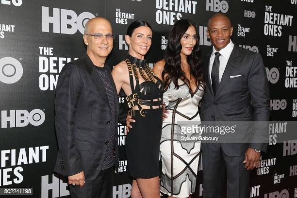 Jimmy Iovine Liberty Ross Nicole Young and Dr Dre attend 'The Defiant Ones' New York premiere on June 27 2017 in New York City