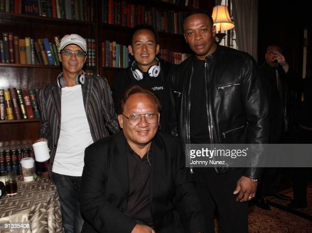 Jimmy Iovine Noel Lee Kevin Lee and Dr Dre attend the Heartbeats by Lady Gaga headphones unveiling at GILT at The New York Palace Hotel on September...