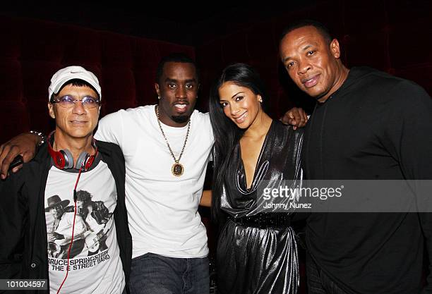 Jimmy Iovine Sean 'Diddy' Combs Nicole Scherzinger and Dr Dre attend the Diddybeats launch party celebration at the W Hotel in Union Square on May 26...