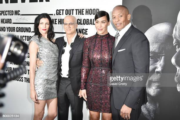 Jimmy Iovine wife Liberty Ross Dr Dre and Nicole Threatt attend HBO's The Defiant Ones Premiere at Paramount Studios on June 22 2017 in Los Angeles...