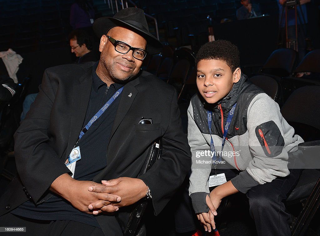 Jimmy Jam and his son Max attend rehearsals for The 55th Annual GRAMMY Awards at Staples Center on February 7, 2013 in Los Angeles, California.
