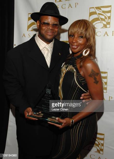 Jimmy Jam and Mary J Blige during ASCAP's Rhythm Soul Awards at Millennium Biltmore Hotel in Los Angeles California United States