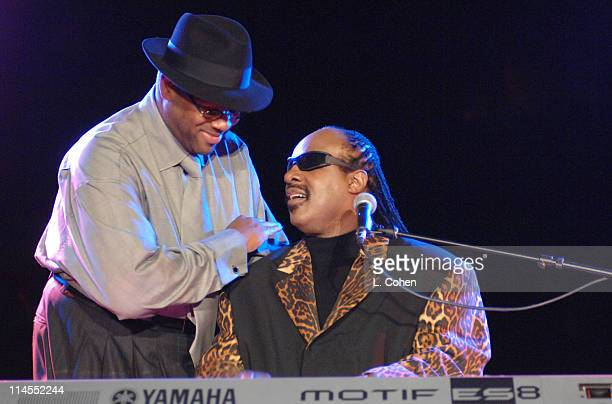 Jimmy Jam and Stevie Wonder during Songs of Hope IV at Esquire House 360° Inside at Esquire House 360° in Beverly Hills California United States