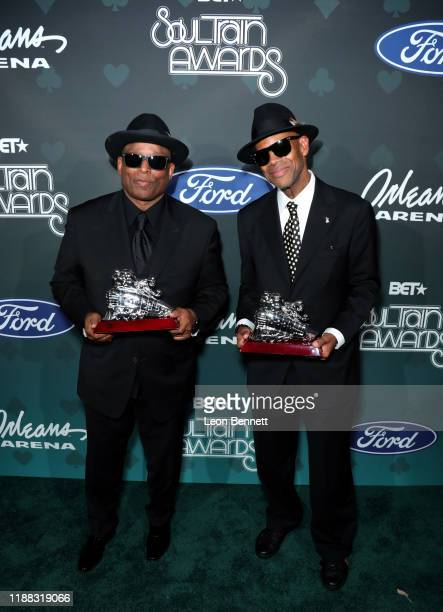 Jimmy Jam and Terry Lewis pose backstage at the 2019 Soul Train Awards presented by BET at the Orleans Arena on November 17, 2019 in Las Vegas,...