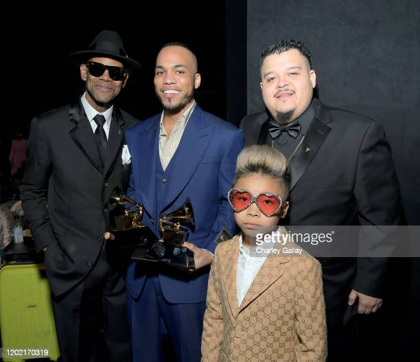 Jimmy Jam Anderson Paak and Soul Rasheed backstage during the 62nd Annual GRAMMY Awards Premiere Ceremony at Microsoft Theater on January 26 2020 in...