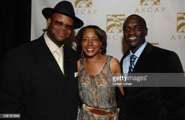 Jimmy Jam Jeanie Weems of ASCAP and Akon during ASCAP's Rhythm Soul Awards at Millennium Biltmore Hotel in Los Angeles California United States
