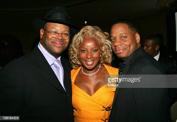 Jimmy Jam, Mary J. Blige and guest during Clive Davis' 2005 Pre-GRAMMY Awards Party - Dinner and Show at Beverly Hills Hotel in Beverly Hills,...