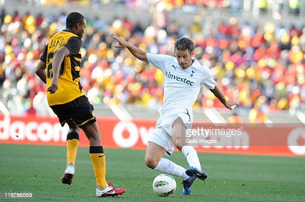 Jimmy Jambo of Chiefs and David Bentley of Tottenham during the 2011 Vodacom Challenge match between Kaizer Chiefs and Tottenham Hotspur at Peter...