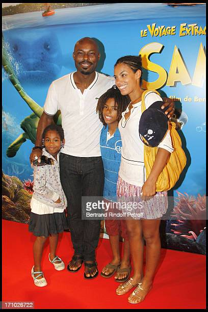 Jimmy Jean Louis and family Jasmin Thevijin Evelyn at Premiere Of Film Le Voyage Extraordinaire De Samy At Cinema Gaumont Opera In Paris