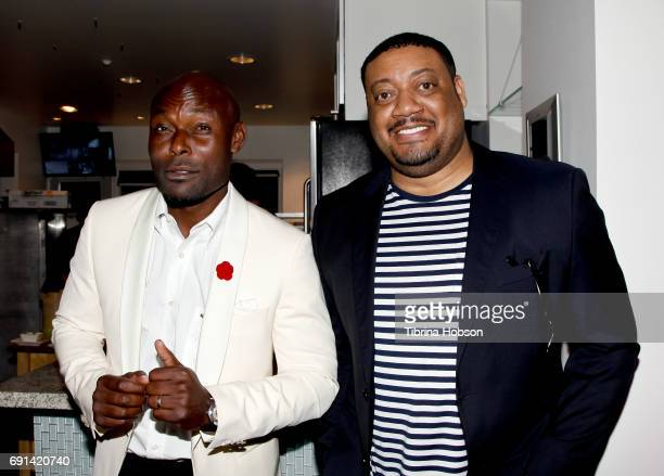 Jimmy JeanLouis and Cedric Yarbrough attend the premiere of TNT's 'Claws' after party at Harmony Gold Theatre on June 1 2017 in Los Angeles California