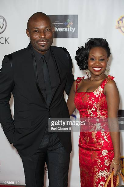 Jimmy JeanLouis and Melissa Grummond appears on the red carpet for the 2nd Annual AAFCA Awards on December 13 2010 in Los Angeles California